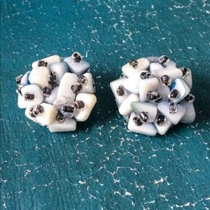 Vintage Shell and Glass Bead Cluster Earrings